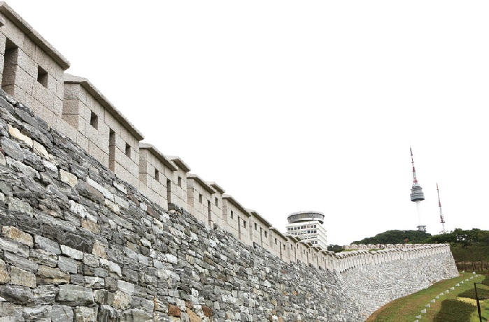 A portion of the Seoul Fortress Wall beneath N Seoul Tower
