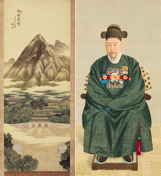 Baegakchunhyo (Registered Cultural Heritage No. 485) by An Jung-sik; (right) Portrait of Lee Gyu-sang by an unknown artist (donated by Lee Sang-eok) (courtesy of the National Museum of Korea)