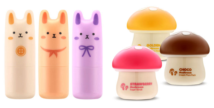Tony Moly is known for its cute packaging, such as red lip-shaped lip balm packages, fruit-shaped hand creams, rabbit-shaped perfume bars and mushroom-shaped facial scrubs and masks.