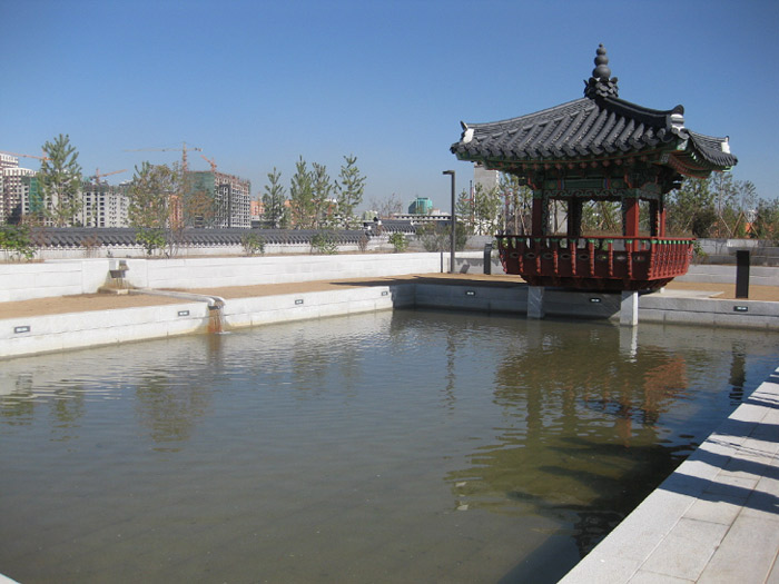 The newly opened Seoul Forest in Ulaanbaatar, Mongolia, offers a pavilion and a pond (photo courtesy of Seoul Metropolitan Government).