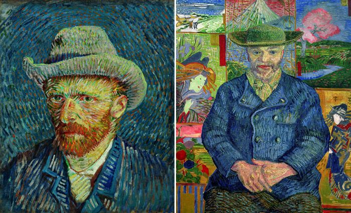 "(From left) ""Self-Portrait with Grey Felt Hat,"" Oil on Cotton, 44.5x37.2cm, September-October 1887, Paris, Van Gogh Museum (Vincent Van Gogh Foundation), Amsterdam / ⓒ 2012 Van Gogh Museum, Netherlands// ""Père Tanguy,"" Oil on Canvas, 92x75cm, 1887, Musée Rodin, Paris / ⓒ Musée Rodin, Paris"