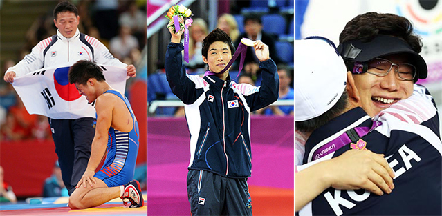 Wrestler Kim Hyeon-woo (left), gymnast Yang Hak-seon (center), and shooter Jin Jong-oh (right) were three Korean Olympic athletes who exemplifed skill as well as love and enthusiasm for their respective sports (photos courtesy of the Korea Olympic Committee).