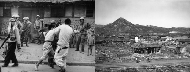 Tensions among Seoul citizens after the first retaking of Seoul (left, by Max Desfor); Jongno District was reduced to ruins (right, by James Martenhoff) (photos courtesy of Seoul Museum of History).