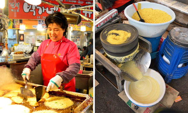 Korean food bindaetteok is fried in the middle of the corridor (left); a special grinding machine rotates to turn the mung beans into paste (right).