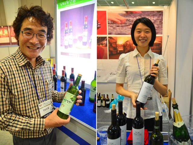 The Jeollanam-do pavilion offers many types of makgeolli including plum makgeolli (left), while the Uruguay booth offers Don Pascual wine (right).