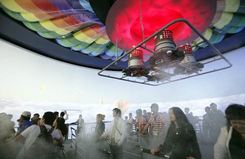 The Lotte Pavilion offers a multimedia simulation of a hot-air balloon ride over the ocean