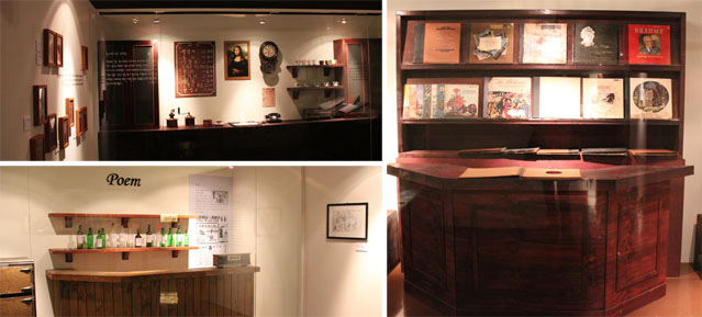 Dioramas of the Mona Lisa dabang (top left), Myeongdong bar Poem, and the Dolce dabang (right), where artists gathered to create their music, their paintings, and their poetry in the 1950s and '60s.