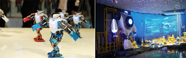 Visitors to the Marine Robot Pavilion can watch a team of robots dancing to K-pop (left) and see the 6.5-meter tall Navi (right) (photos courtesy of the Expo 2012 Yeosu Korea Organizing Committee).