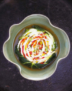Baechu kimchi made with cabbage is the most common type of kimchi.