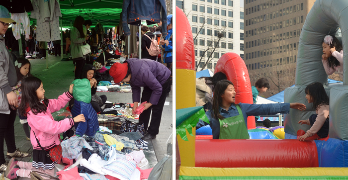Throughout the car-free event, some children were there to work (left) while some where there to play (right) (photos: Jon Dunbar).