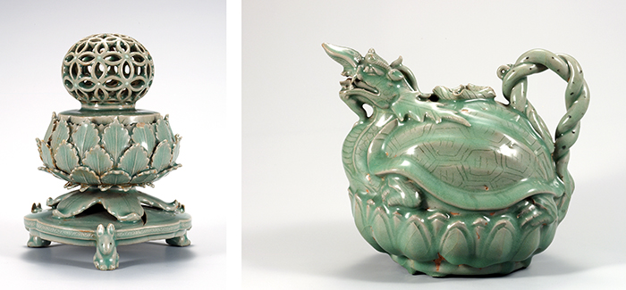 (From left) A celadon incense burner with an openwork cloisonne design, National Treasure No. 95; A turtle-dragon celadon pitcher, National Treasure No. 96