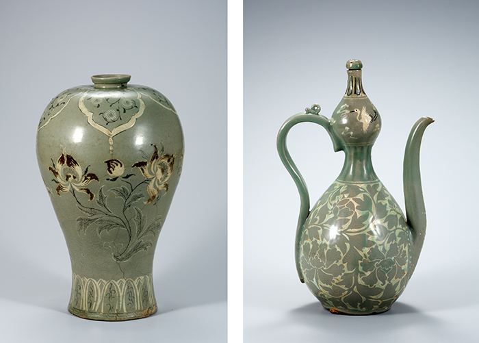 (From left) A celadon vase with an inlaid peony design, National Treasure No. 346; a gourd-shaped celadon pitcher with an inlaid peony scroll design, National Treasure No. 116 (Photos courtesy of the National Museum of Korea)