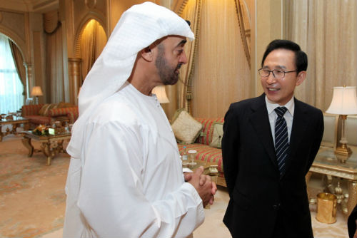 President Lee meets with Abu Dhabi's Crown Prince Sheikh Mohammed bin Zayed Al Nahyan on February 10