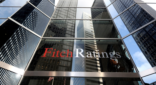 A view of the offices of Fitch Ratings in New York. The agency upgraded the country's sovereign debt rating by one notch.