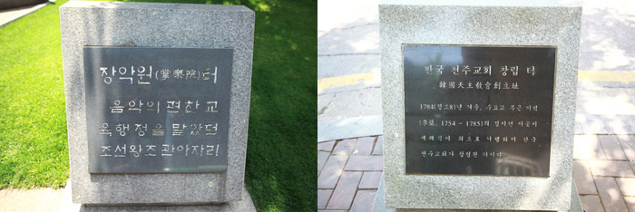 (Top) The site of Kim Beom-u's house. (Bottom) The site of Yi Byeok's home. (photos courtesy of the Archdiocese of Seoul)