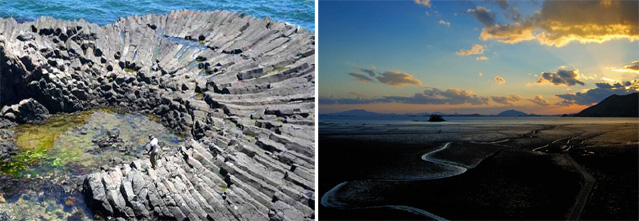 Two unique scenic points along Korea's coast include volcanic rock formations in Gyeongju (left), off of the eastern coast, and Suncheon Bay (right) off of the southern coast (photos courtesy of Ministry of Land, Transport and Maritime Affairs).