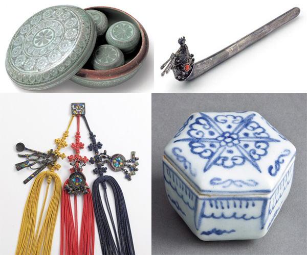 (Clockwise from upper left) inlaid celadon cosmetics case from the Goryeo Dynasty, ornamental hairpin, blue-and-white porcelain powder case, and pendant with three silver enamel ornaments from the Joseon Dynasty (photo: KCCUK)