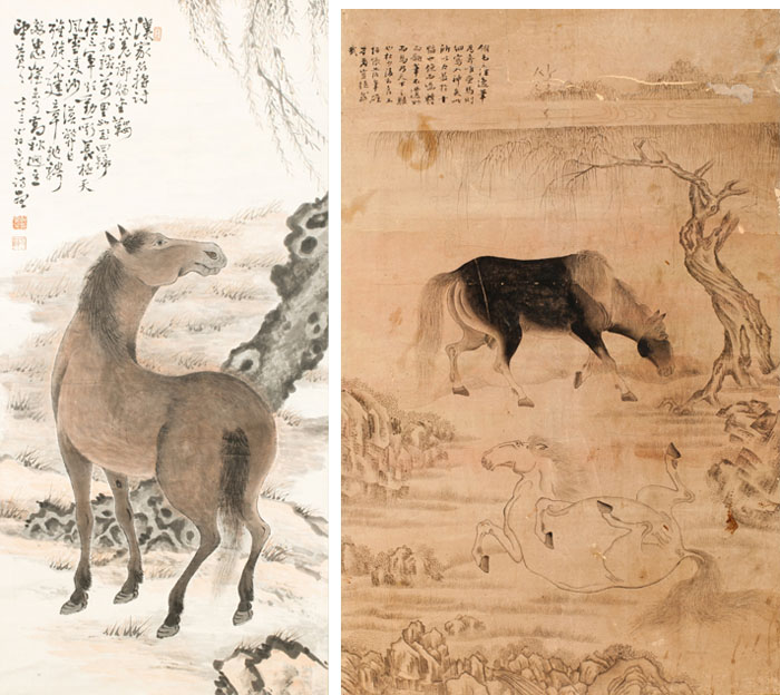 (Left) The painting <i> Yuhamado </i> depicts a horse under a willow tree. The willow symbolizes the longevity of a dynasty and the horse symbolizes loyalty and high government positions. (Right) The painting <i> Gonmado </i> shows two horses, symbolizing a happy marriage and many children. (Photos courtesy of the National Folk Museum of Korea)