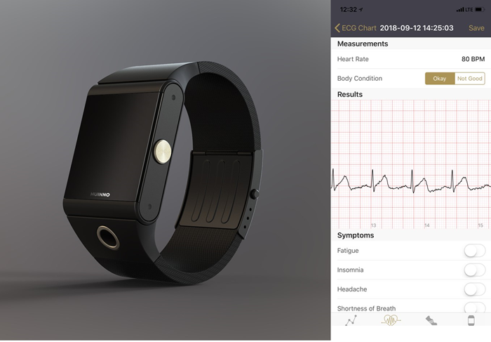 Memowatch, a wearable electrocardiogram measurement device developed by the Korean company Huinno, has received Korea's first waiver under the government's regulatory sandbox program in the information and communication technology (ICT) sector. (Huinno)