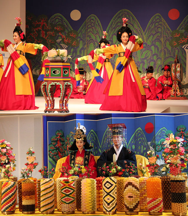 (above) Heonseondo is a Korean traditional royal court dance which represents the offering of a legendary peach that ripens every 3,000 years to the king for his longevity and good fortune; (below) Jinehchanan is a reinterpretation of the royal banquet.