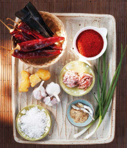 The basic ingredients for making kimchi
