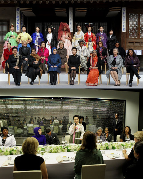 First Lady Kim Yoon-ok previoiusly hosted a Korean Traditional Culture Experience Program for spouses of G20 leaders during the G20 Seoul Summit in 2010 (photo courtesy of Cheong Wa Dae).