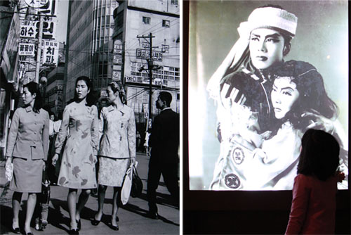 Well-dressed women walk down the main street in '70s-era Myeongdong (left). A young girl peers up at a scene from an all-female theatre production (right).