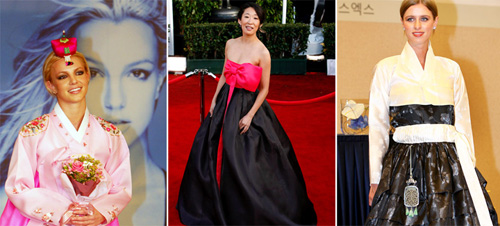Britney Spears (left), Sandra Oh (center), and Nikky Hilton (right) are among the Hollywood stars who have shown their appreciation for Hanbok in recent years (photos: Yonhap News).