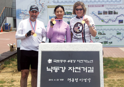 Kathleen Stevens (right), former United States ambassador to the Republic of Korea, completed the four rivers cross-country cycling course on May 31
