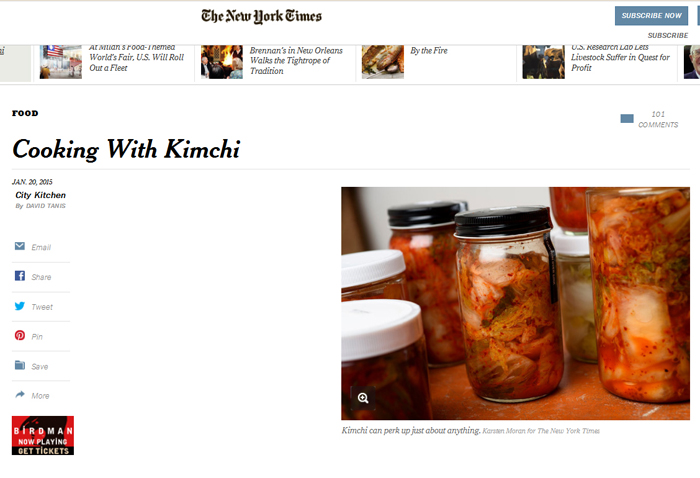 The New York Times reports in an article on January 20, 'Cooking With Kimchi,' that it is, 'eaten enthusiastically at every meal,' in Korea.