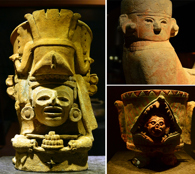 Exhibits at the Maya 2012 exhibit depict kings, gods, and animals.