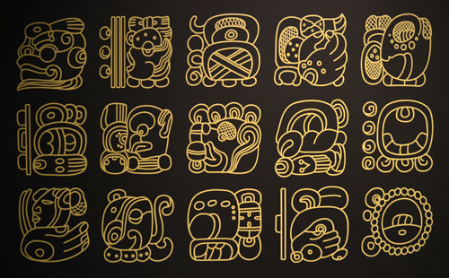 The Mayans used syllabic glyphs which bear resemblance to Japanese Hanja. The characters are read top-to-bottom, left-to-right, in a manner reminiscent of Korea's Hangeul.