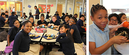 Students eat bibimbap for lunch in the cafeteria at Takoma EC (photo courtesy of KCC Washington, D.C.).