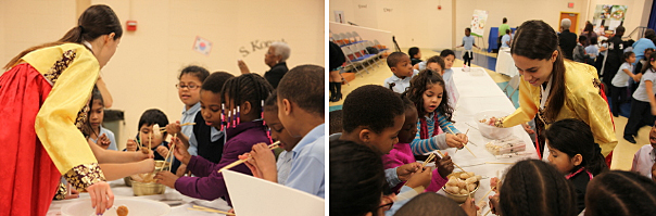 Young students practice using chopsticks to pick up Korean snacks (photo courtesy of KCC Washington, D.C.)