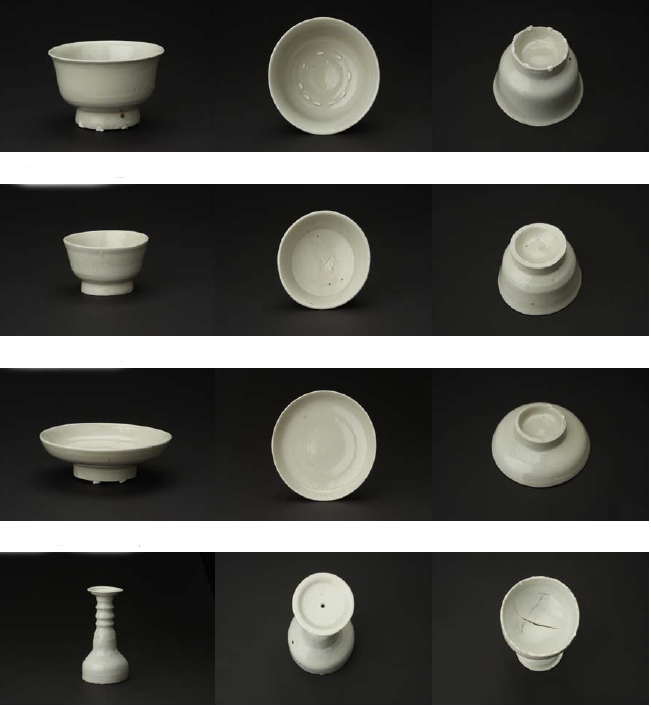 (From top) Ceramic cups with a base, small cups, plates and candlesticks have all been found in underwater archeological digs off the coast of Taean County.