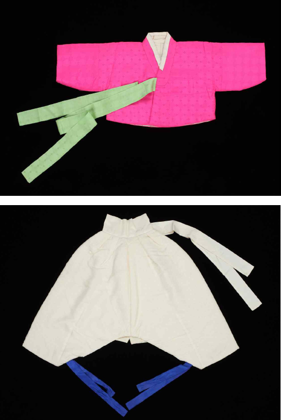 A traditional jacket (top) and a pair of pants for children.