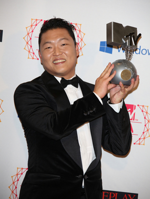 "PSY dances to ""Gangnam Style"" in celebration of his award"