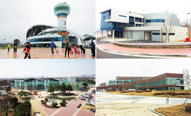Culture centers around the four rivers: (top, left) Hangang Culture Center; (top, right) Geumgang Culture Center, (bottom, left) Nakdonggang Culture Center; (bottom, right) Yeongsangang Culture Center