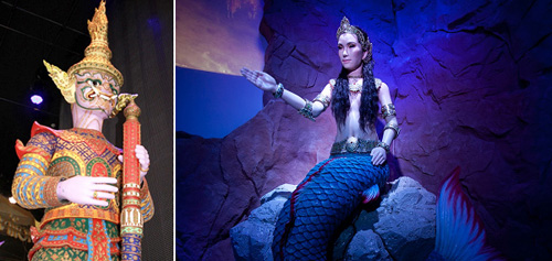 The giant robot Maiyarap (left) and a 2.5-meter mermaid robot (right) await visitors at the Thailand Pavilion (photos courtesy of the Expo 2012 Yeosu Korea Organizing Committee).