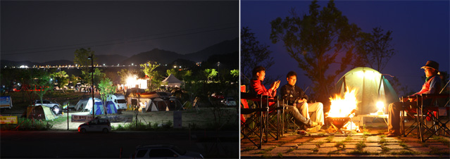 "Participants at the ""Bike Camping 2012"" relax around the camp fire (photo courtesy of Korea Tourism Organization)."