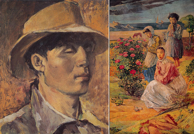 (left) Self-Portrait, 1950, Oil on wood panel, 26.5X21.8cm; (right) Sweet Brier Flowers, 1944, Oil on canvas, 228.5x146 cm (courtesy of NMOCA)