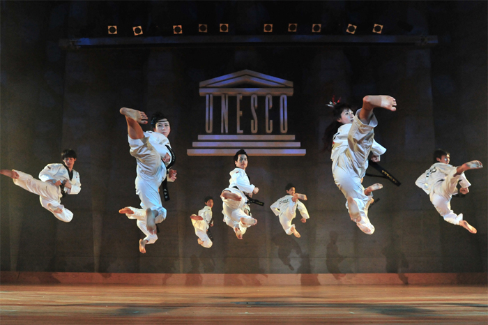 TAL was invited to UNESCO based in Paris, France in April 2012. The TAL taekwondo team shows off their jaw- dropping kicks (photo courtesy of SR Group).