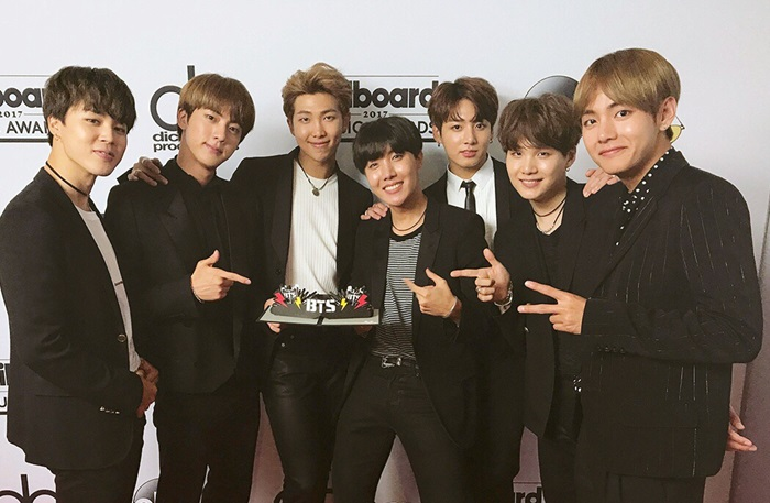 K-pop sensation BTS wins the Top Social Artist award at the 2017 Billboard Music Awards, held at the T-Mobile Arena in Las Vegas on May 21. (Big Hit Entertainment)