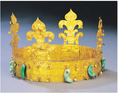 Gold Crown of Gaya. This crown was unearthed in Goryeong, Gyeongsangbuk-do. It features upright decorations and curved jade pendants.