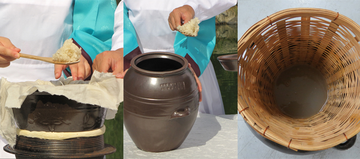 (From left) 1. Steam glutinous rice in a steamer lined with cotton cloth. 2. Put the steamed rice in the pot and leave it for seven days. 3. Strain it with a sieve.