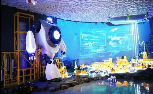 Robots journey in search of marine resources in the imaginative sea