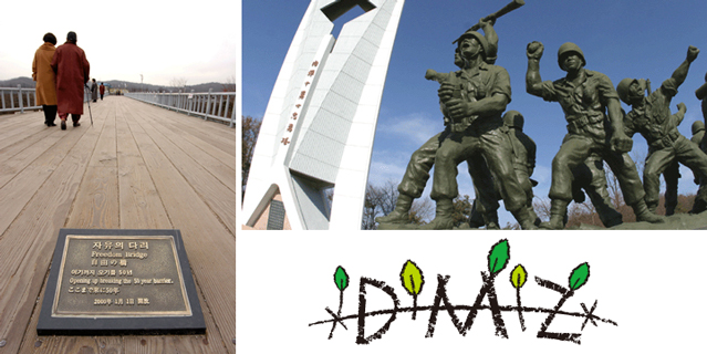 (Left) Freedom Bridge (right) a commemoration statue at the Imjingak area (Photo: DMZ homepage).
