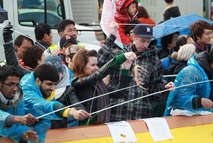 Foreign tourists catch Yeongdeok snow crabs at last year's Yeongdeok Snow Crab Festival (photo courtesy of Korea Tourism Organization).