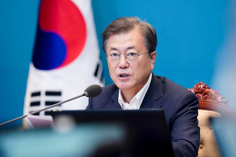President Moon Jae-in speaks during a meeting of his senior secretaries