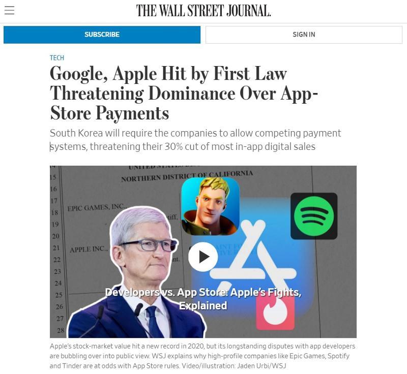 Wall Street Journal über das neue Gesetz in Korea gegen Google und Apple's In-App-Zahlungen